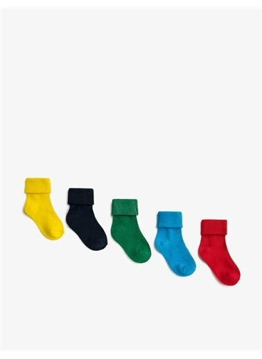 Koton Koton Basic Pamuklu Renkli Erkek Bebek Çorap Seti Mavi